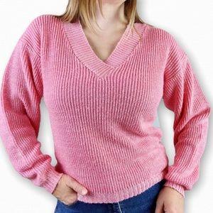 Vintage 80's Bubble Gum Pink V-Neck Sweater